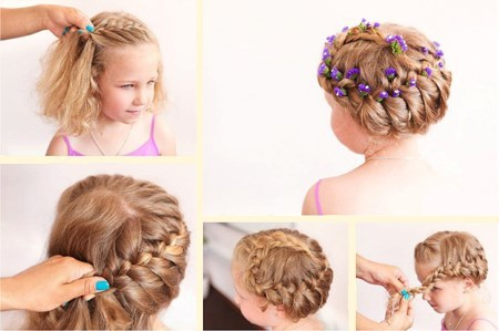 Прически девочкам на средние волосы фото